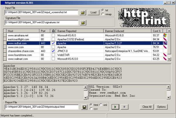 httprint Download - Web Server Fingerprinting Tool