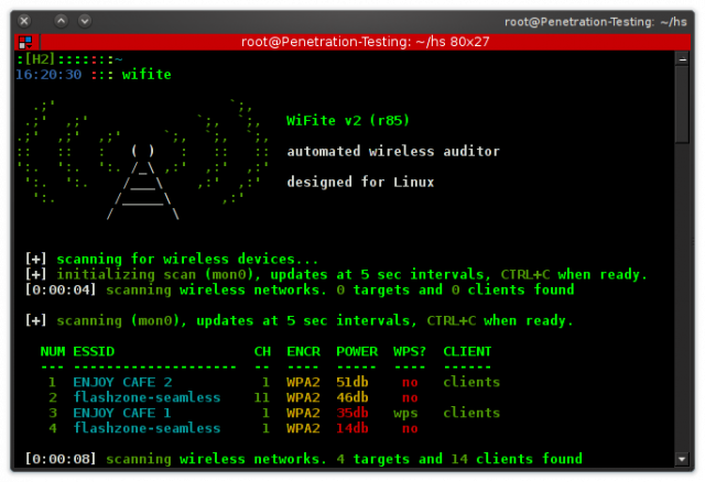 wifite - Mass Wifi WEP/WPA Key Cracking Tool