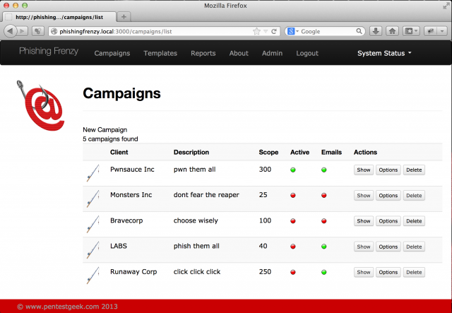 Phishing Frenzy - Manage Phishing Campaigns