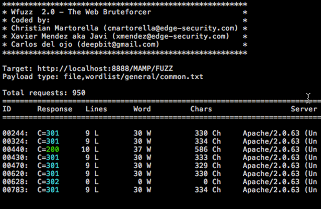 Wfuzz - Web Application Brute Forcer