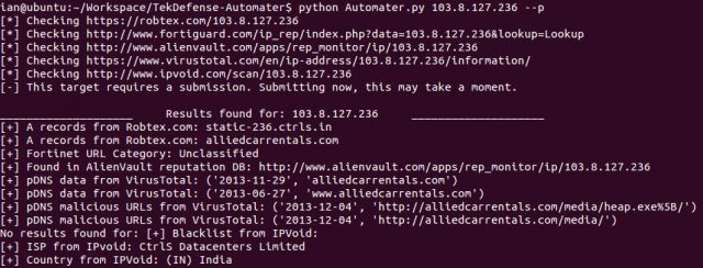 Automater - IP & URL OSINT Analysis