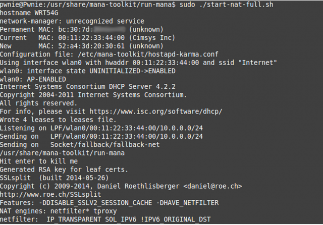 MANA Toolkit - Rogue Access Point (evilAP) And MiTM Attack Tool