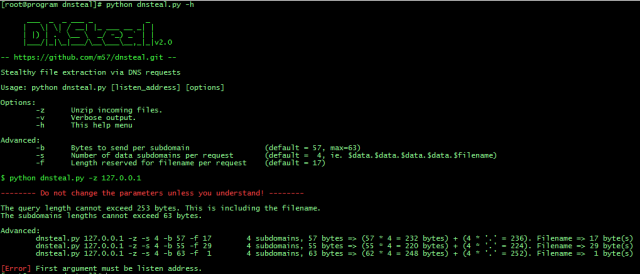 dnsteal - DNS Exfiltration Tool