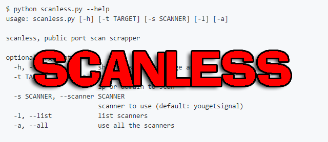 scanless - A Public Port Scan Scraper
