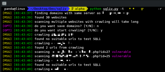 SQLiv – SQL Injection Dork Scanning Tool