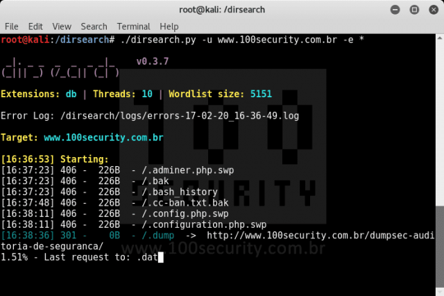 dirsearch - Website Directory Scanner For Files & Structure