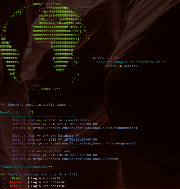 Cr3dOv3r – Credential Reuse Attack Tool