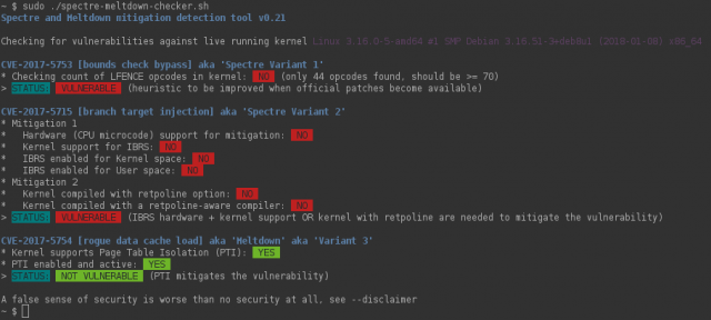 Spectre & Meltdown Checker - Vulnerability Mitigation Tool For Linux