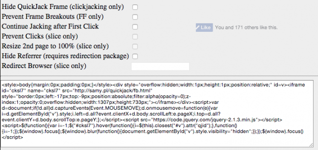 Quickjack – Advanced Clickjacking & Frame Slicing Attack Tool