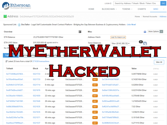 MyEtherWallet DNS Hack Causes 17 Million USD User Loss