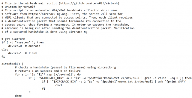 Airbash – Fully Automated WPA PSK Handshake Capture Script