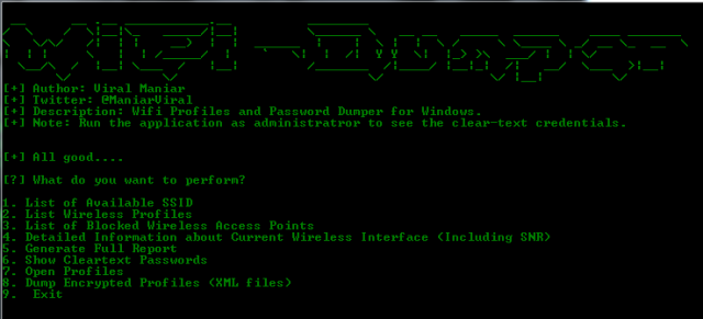 WiFi-Dumper – Dump WiFi Profiles and Cleartext Passwords