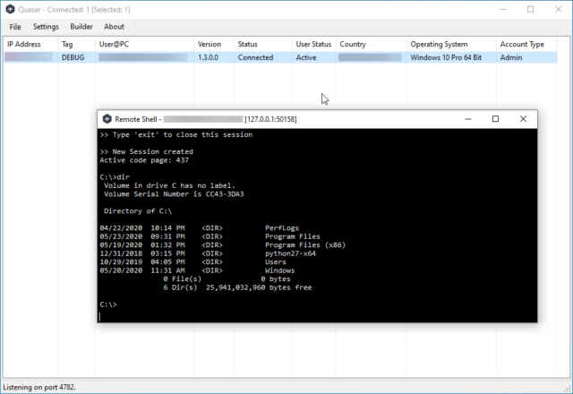 Quasar RAT - Windows Remote Administration Tool