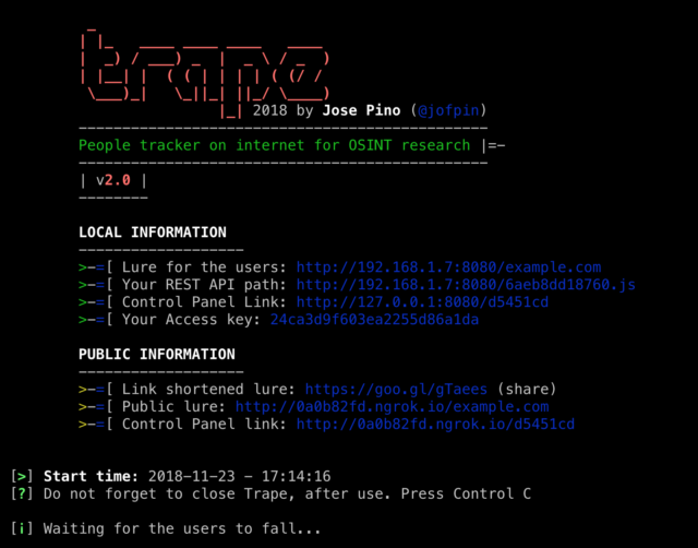 Trape – OSINT Analysis Tool For People Tracking